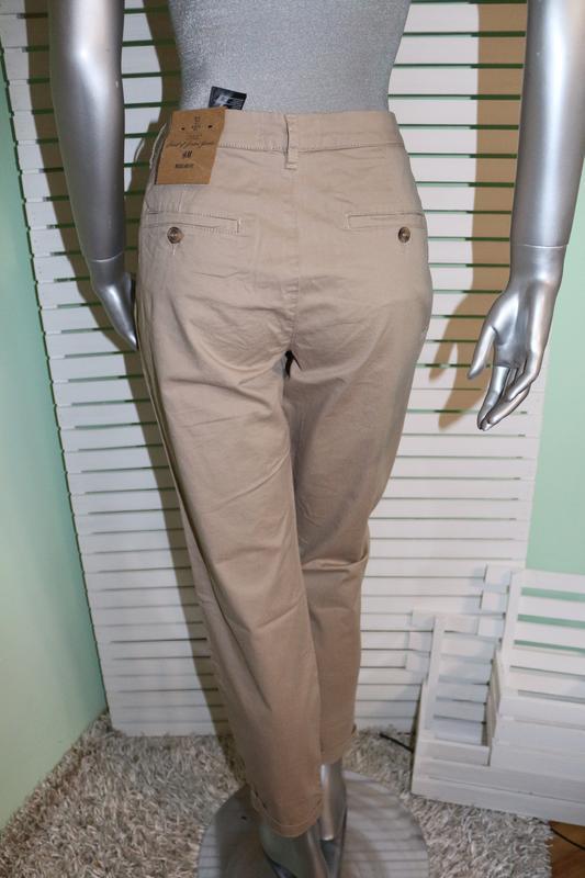 Бежевые брюки штаны h&m - Фото 2