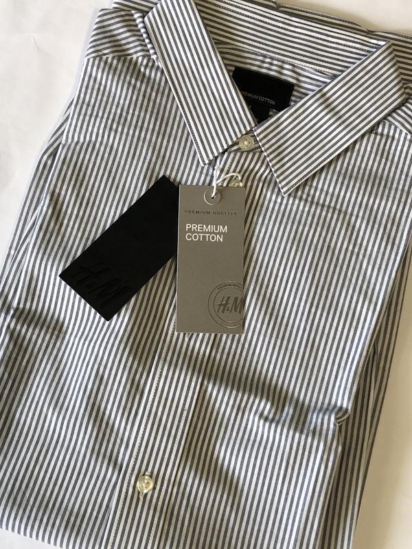Полосатая рубашка h&m из хлопка премиум ! - Фото 6