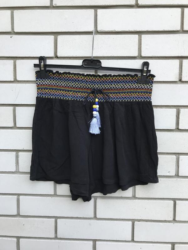 Легкие,штапельные,вискоза шорты,летние,домашние,вышивка,этно,б...