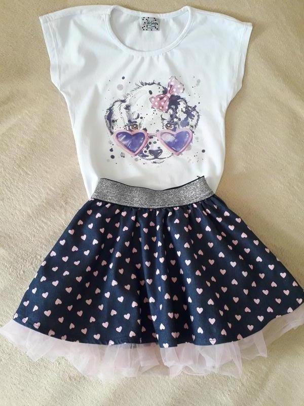 Костюм, комплект , футболка, юбка