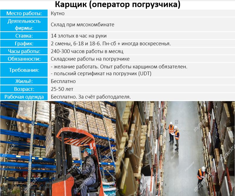 Работа в Польше Карщик (оператор погрузчика)