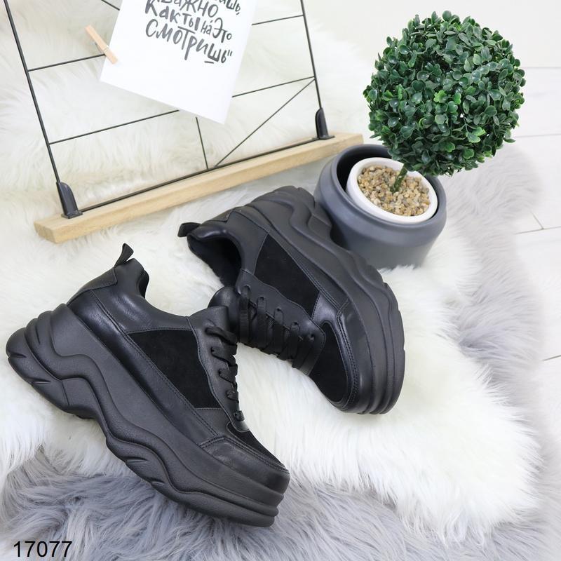 Кроссовки женские чёрные - Фото 2