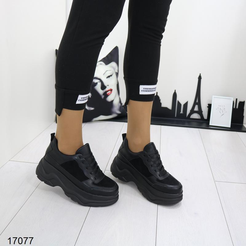 Кроссовки женские чёрные - Фото 5