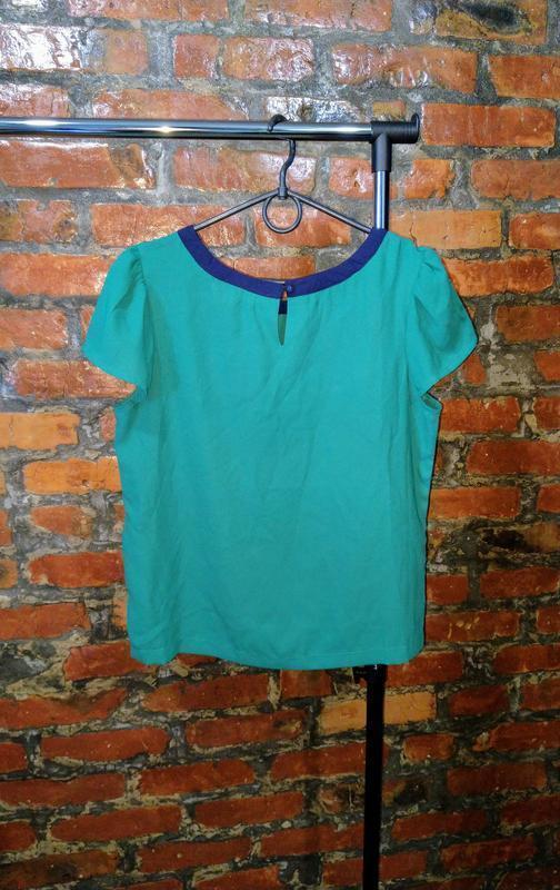 Стильная блуза топ кофточка с контрастной окантовкой - Фото 2