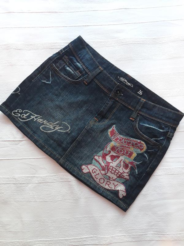 Ed hardy, оригинал! брендовая джинсовая юбка#юбочка#спідниця, ...