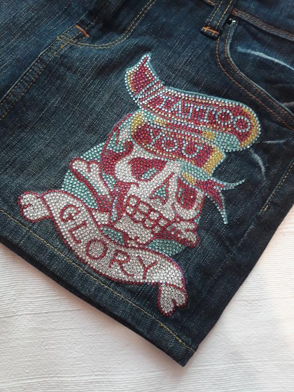 Ed hardy, оригинал! брендовая джинсовая юбка#юбочка#спідниця, ... - Фото 2