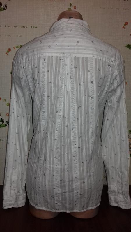 Белая рубашка классика, из интересной ткани. - Фото 2