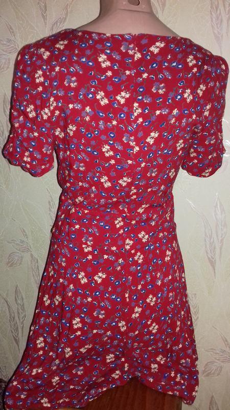Ромпер платье красное с цветочками. - Фото 4