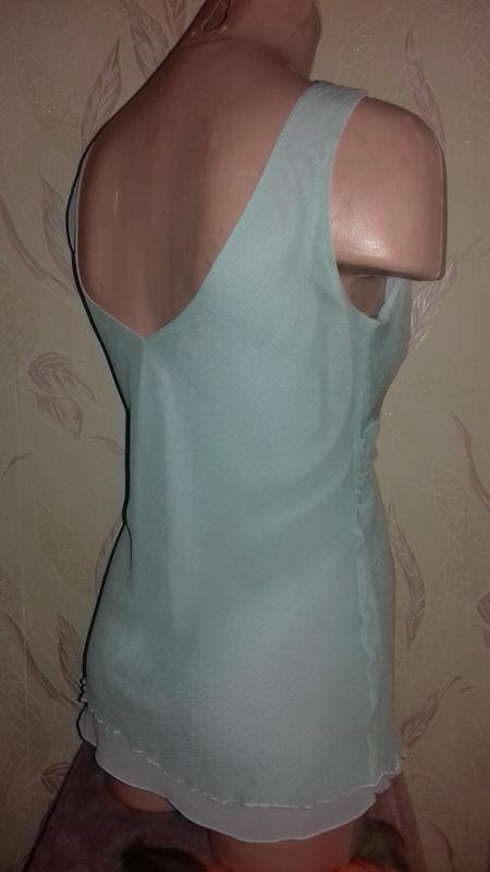 Шелковая маечка жатка, мятная, цвет тиффани - Фото 3