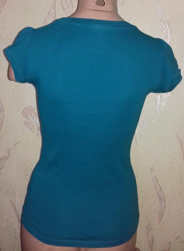 Базовая, бирюзовая футболка хлопок - Фото 2