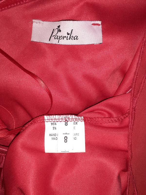 Красное платье на одно плечо плиссе, длинный рукав. - Фото 5
