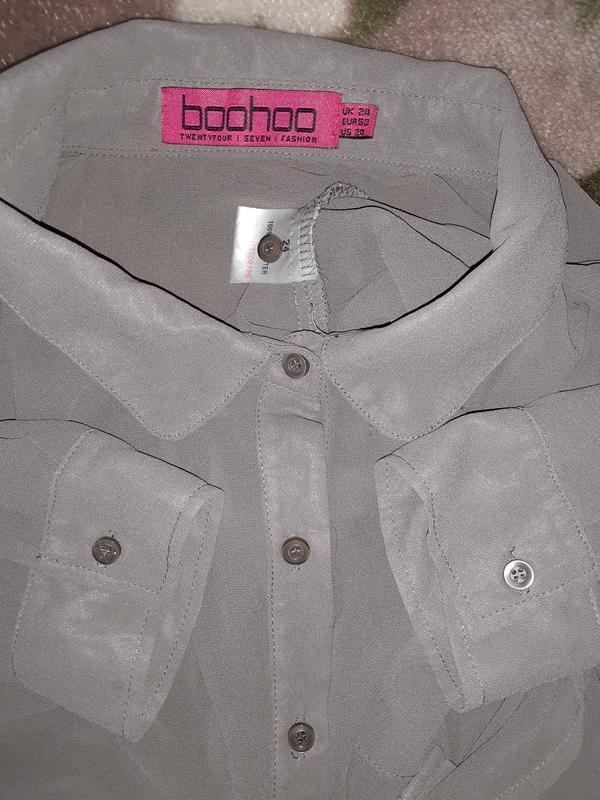 Рубашка, блузка серая plus size - Фото 3