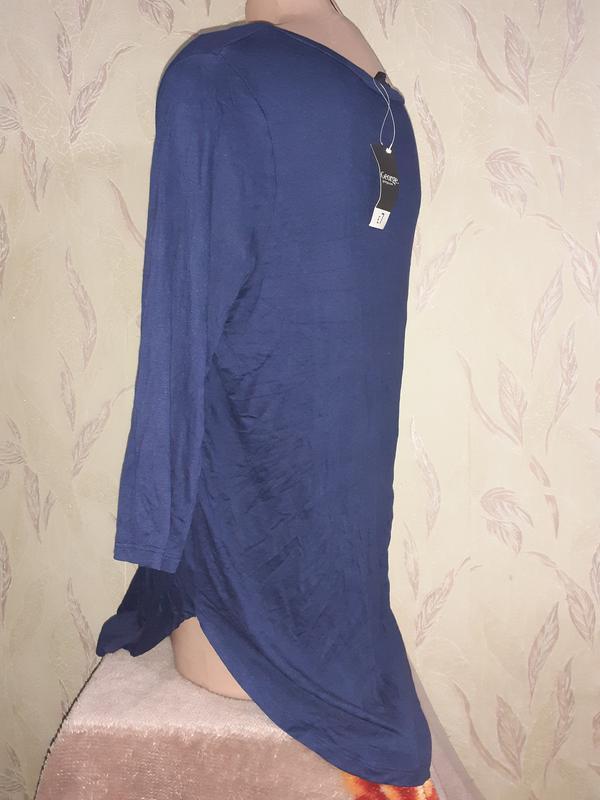 Синяя кофта туника легкая 3/4 рукава, вискоза - Фото 5