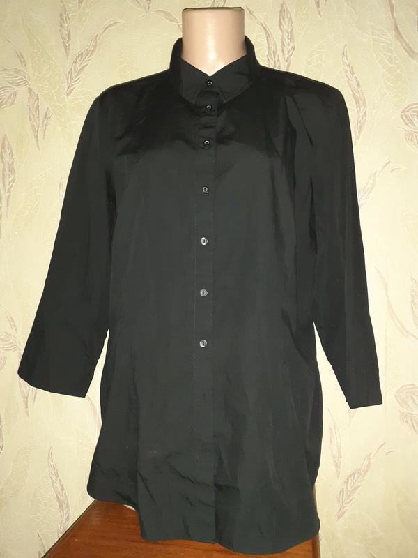 Черная рубашка блуза 3/4 рукав - Фото 2
