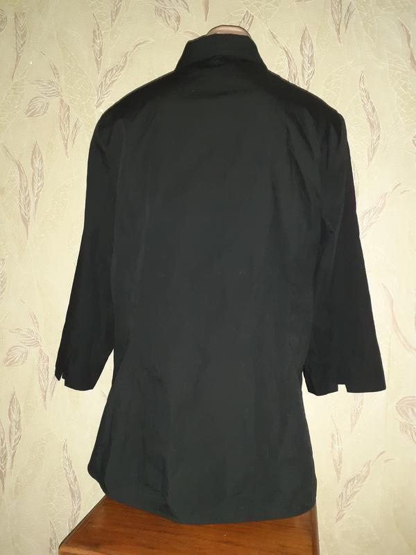 Черная рубашка блуза 3/4 рукав - Фото 3