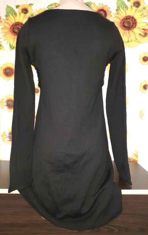 Черное платье с длинным рукавом, пушистый лиф, травка. - Фото 2
