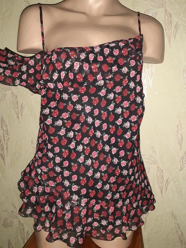 Асимметричный топ, шёлковая майка, блуза, цветочный принт розы
