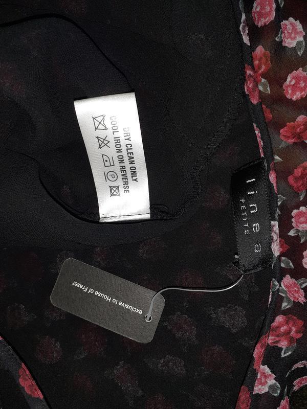 Асимметричный топ, шёлковая майка, блуза, цветочный принт розы - Фото 4