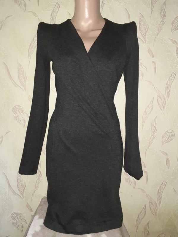 Темно серое платье с длинным рукавом, теплое - Фото 2
