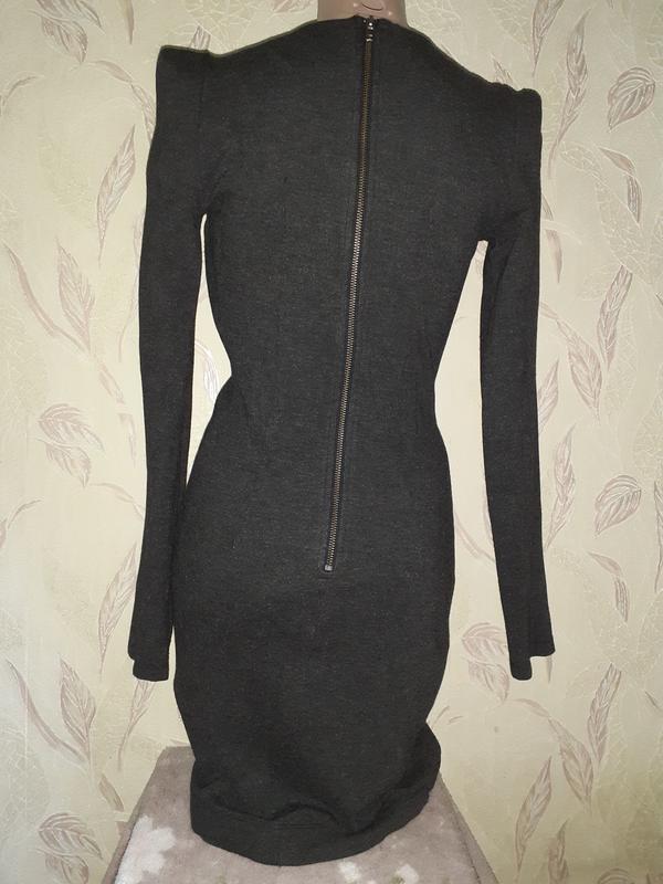 Темно серое платье с длинным рукавом, теплое - Фото 3