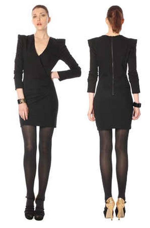 Темно серое платье с длинным рукавом, теплое - Фото 5