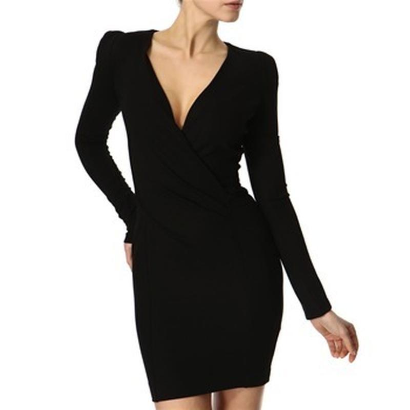 Темно серое платье с длинным рукавом, теплое - Фото 6