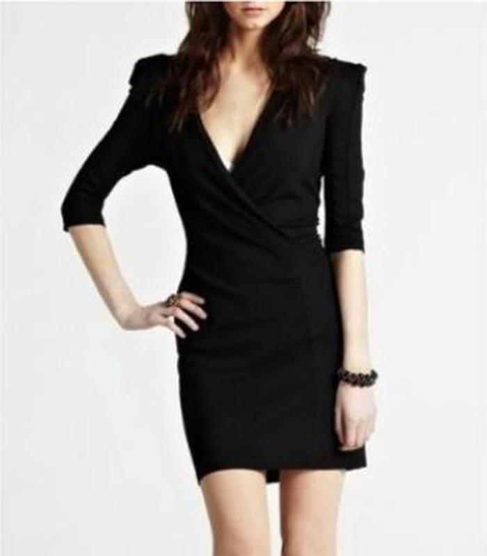 Темно серое платье с длинным рукавом, теплое - Фото 7