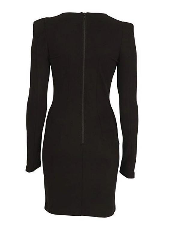 Темно серое платье с длинным рукавом, теплое - Фото 8