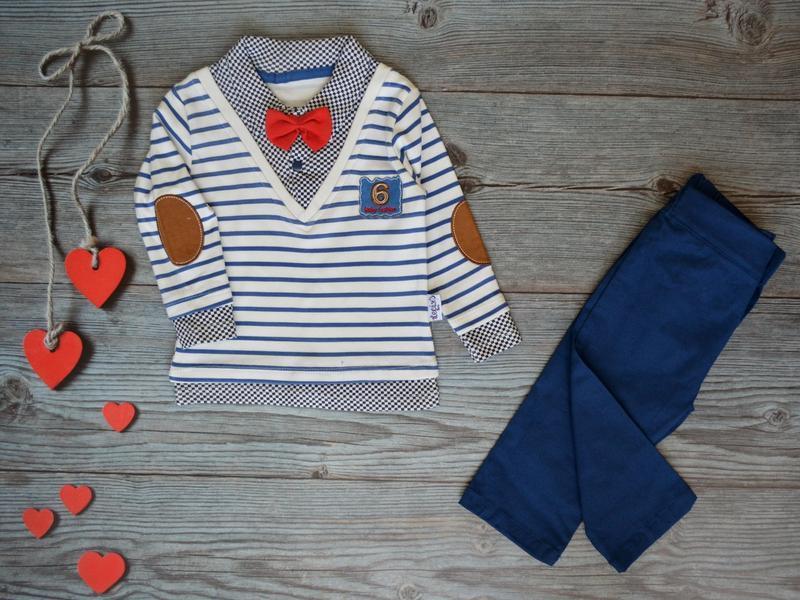Костюм 2-ка: реглан сорочка-обманка + котонові штани