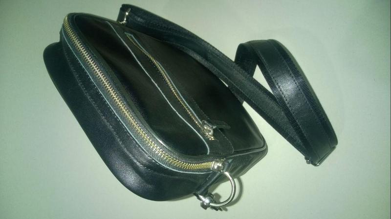 Новая сумка с телячьей кожи тол. 2,5 мм , чёрная . - Фото 3