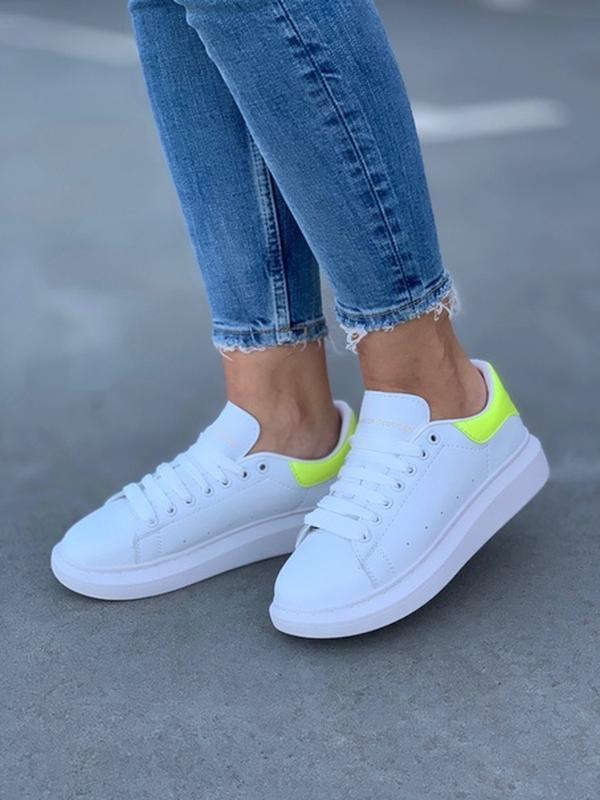 Женские кожаные кроссовки маквин alexander mcqueen white green...