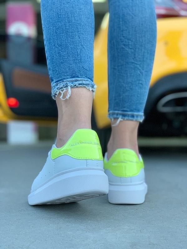 Женские кожаные кроссовки маквин alexander mcqueen white green... - Фото 2