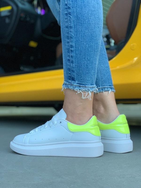 Женские кожаные кроссовки маквин alexander mcqueen white green... - Фото 3