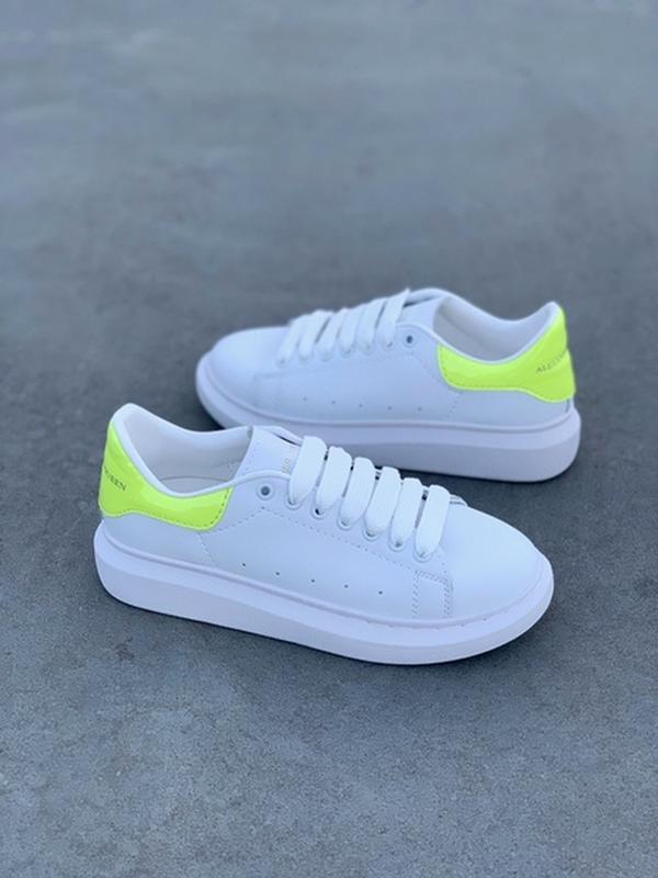 Женские кожаные кроссовки маквин alexander mcqueen white green... - Фото 4