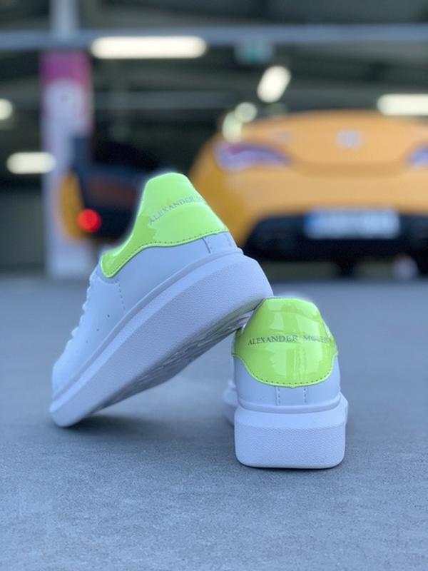 Женские кожаные кроссовки маквин alexander mcqueen white green... - Фото 5