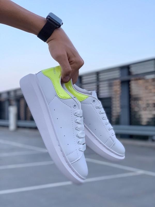 Женские кожаные кроссовки маквин alexander mcqueen white green... - Фото 6