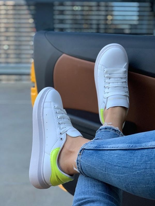 Женские кожаные кроссовки маквин alexander mcqueen white green... - Фото 7