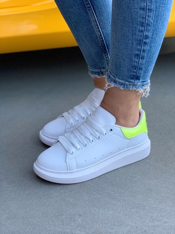 Женские кожаные кроссовки маквин alexander mcqueen white green... - Фото 9