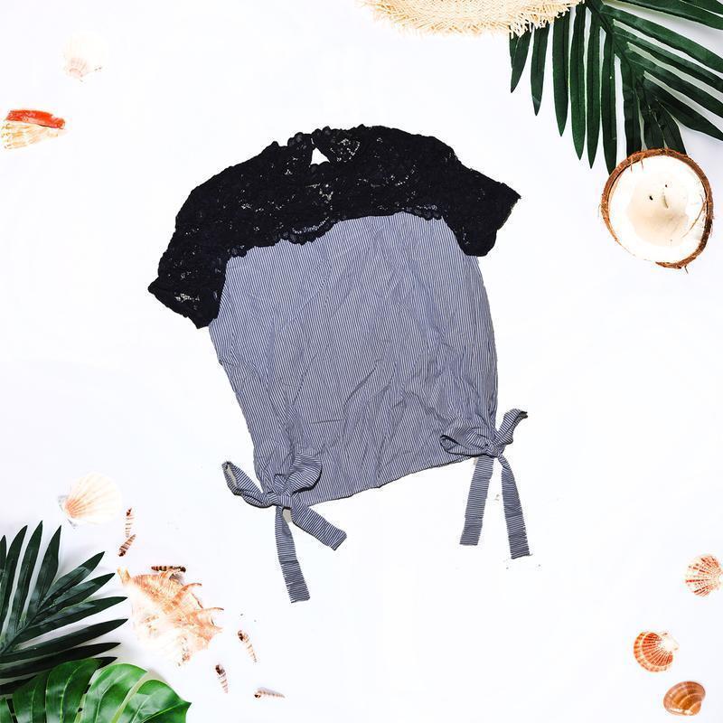 Полосатая футболка с завязками и рюшами на плечах zara - Фото 2