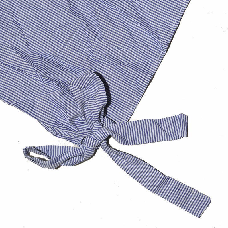 Полосатая футболка с завязками и рюшами на плечах zara - Фото 5