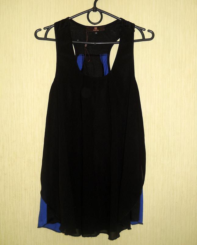 Классный черный синий топ майка можно беременным размер s-м - Фото 4