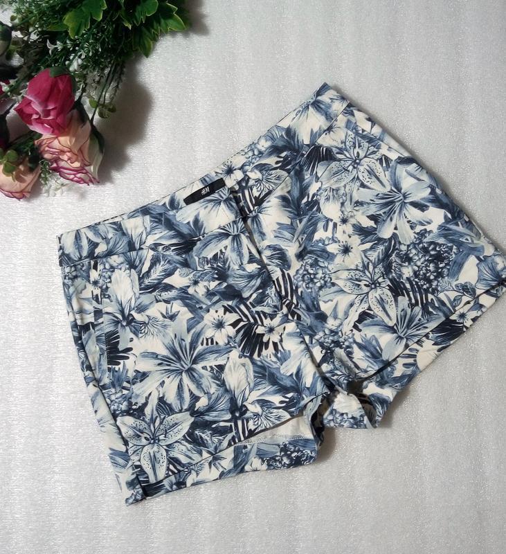 Стильные трендовые сине-белые короткие летние хлопковые шорты ...