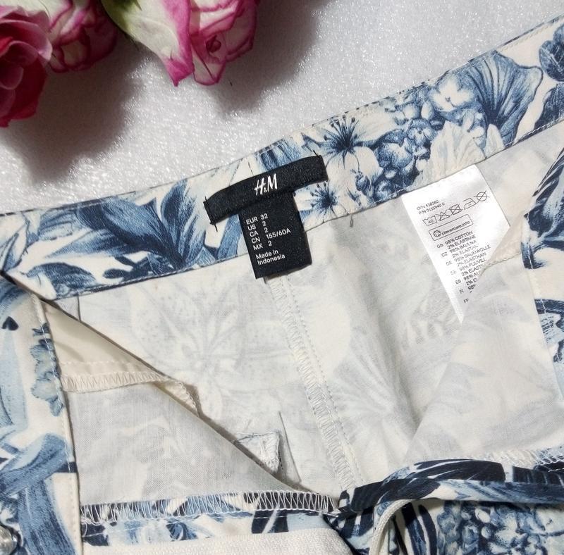 Стильные трендовые сине-белые короткие летние хлопковые шорты ... - Фото 5