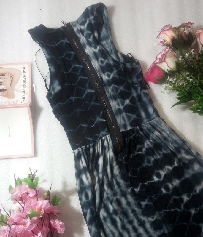 Стильное сине-черно-серое платье сукня макси длинное topshop u... - Фото 5