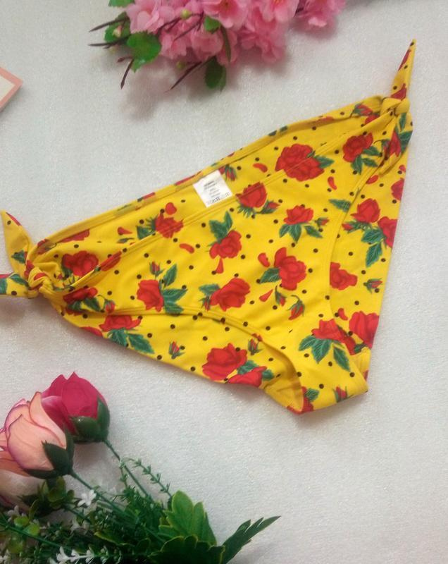 Супер плавки трусики низ от купальника желтые в принт розы от ...
