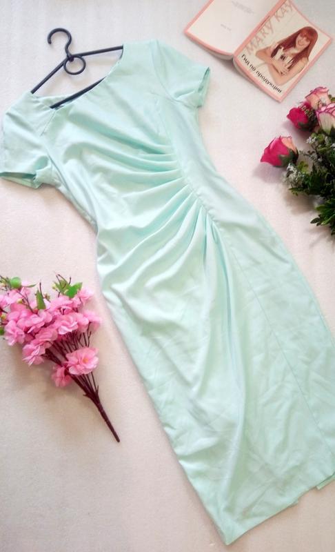Нежное мятное миди платье сукня карандаш размер s от fever london - Фото 2