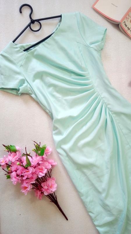Нежное мятное миди платье сукня карандаш размер s от fever london - Фото 5