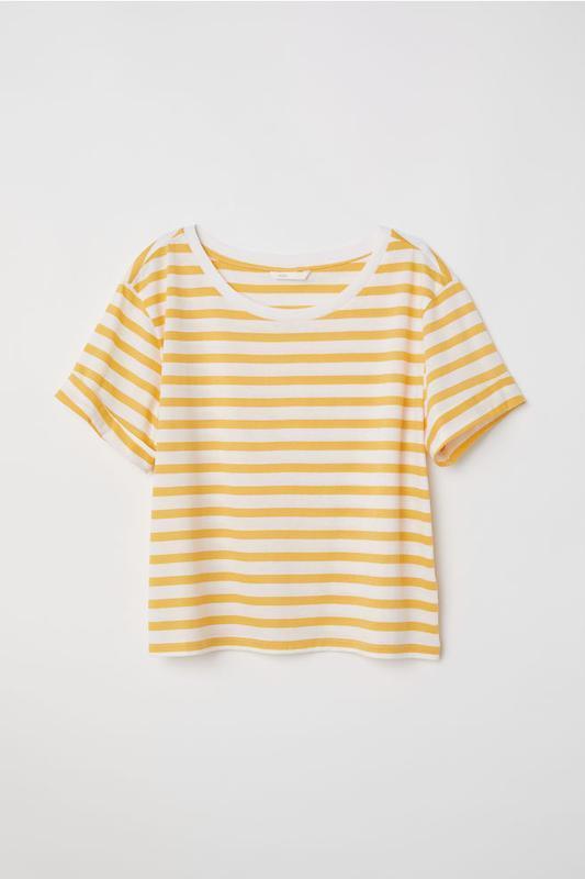 Повседневная базовая полосатая хлопковая футболка широкая топ ...
