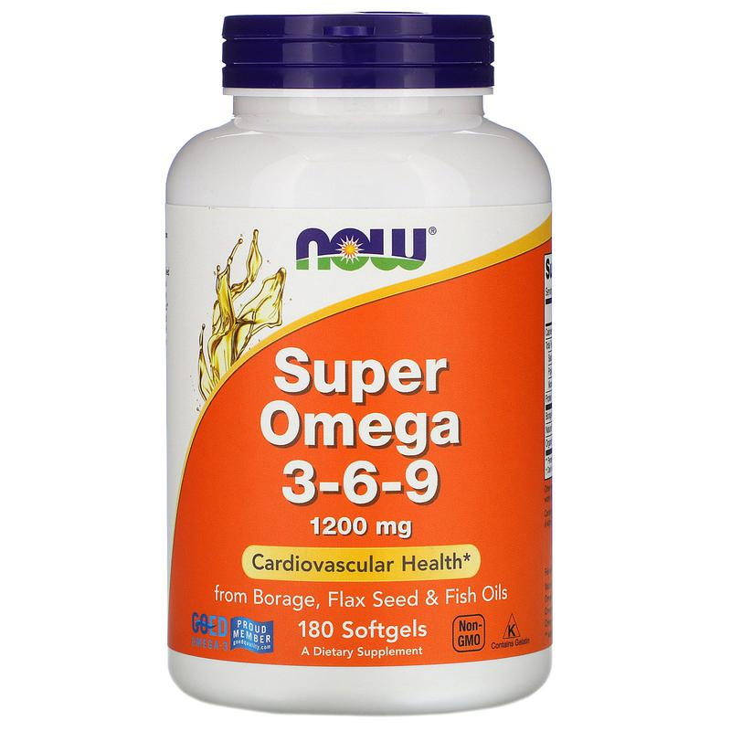Супер омега Omega 3-6-9, 1,200 мг, 180 капс. Now Foods США