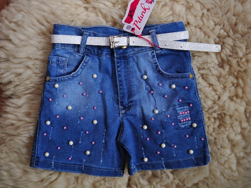 Модные джинсовые шорты, с бусинками, хит, от 4 до 12 лет, буси...